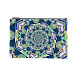 Power Spiral Polygon Blue Green White Cosmetic Bag (Large)