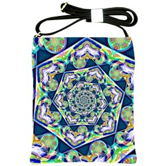 Power Spiral Polygon Blue Green White Shoulder Sling Bags by EDDArt