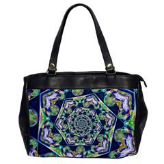 Power Spiral Polygon Blue Green White Office Handbags by EDDArt