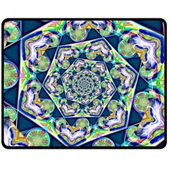Power Spiral Polygon Blue Green White Fleece Blanket (medium)  by EDDArt