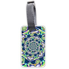 Power Spiral Polygon Blue Green White Luggage Tags (one Side)  by EDDArt