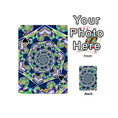 Power Spiral Polygon Blue Green White Playing Cards 54 (mini)  by EDDArt