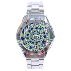 Power Spiral Polygon Blue Green White Stainless Steel Analogue Watch by EDDArt