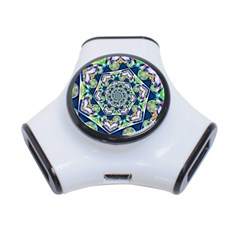 Power Spiral Polygon Blue Green White 3 Port Usb Hub by EDDArt