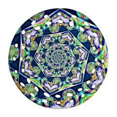 Power Spiral Polygon Blue Green White Ornament (round Filigree)  by EDDArt