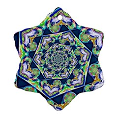 Power Spiral Polygon Blue Green White Ornament (snowflake)  by EDDArt