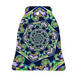 Power Spiral Polygon Blue Green White Bell Ornament (2 Sides)