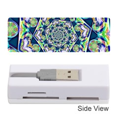 Power Spiral Polygon Blue Green White Memory Card Reader (stick)  by EDDArt