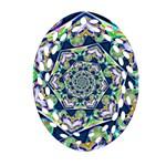 Power Spiral Polygon Blue Green White Ornament (Oval Filigree)