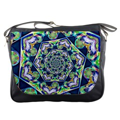 Power Spiral Polygon Blue Green White Messenger Bags by EDDArt