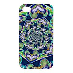 Power Spiral Polygon Blue Green White Apple Iphone 4/4s Premium Hardshell Case by EDDArt