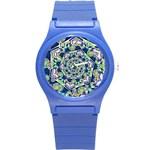 Power Spiral Polygon Blue Green White Round Plastic Sport Watch (S)