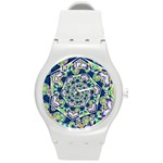 Power Spiral Polygon Blue Green White Round Plastic Sport Watch (M)