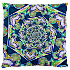 Power Spiral Polygon Blue Green White Large Cushion Case (one Side) by EDDArt