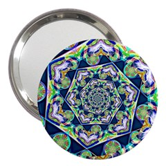 Power Spiral Polygon Blue Green White 3  Handbag Mirrors by EDDArt