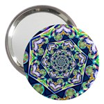 Power Spiral Polygon Blue Green White 3  Handbag Mirrors