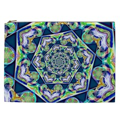 Power Spiral Polygon Blue Green White Cosmetic Bag (xxl)  by EDDArt