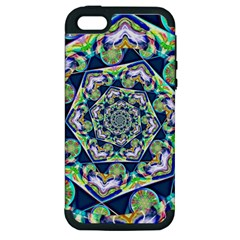 Power Spiral Polygon Blue Green White Apple Iphone 5 Hardshell Case (pc+silicone) by EDDArt