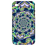 Power Spiral Polygon Blue Green White Apple iPhone 4/4S Hardshell Case (PC+Silicone)