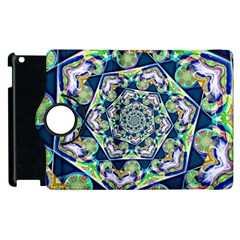 Power Spiral Polygon Blue Green White Apple Ipad 3/4 Flip 360 Case by EDDArt
