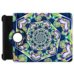 Power Spiral Polygon Blue Green White Kindle Fire Hd Flip 360 Case by EDDArt
