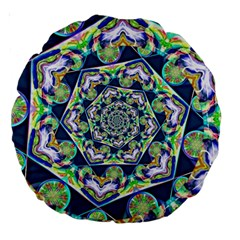 Power Spiral Polygon Blue Green White Large 18  Premium Round Cushions by EDDArt
