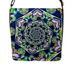Power Spiral Polygon Blue Green White Flap Messenger Bag (L)
