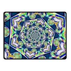 Power Spiral Polygon Blue Green White Double Sided Fleece Blanket (small)  by EDDArt