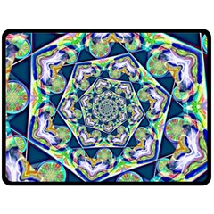 Power Spiral Polygon Blue Green White Double Sided Fleece Blanket (large)  by EDDArt