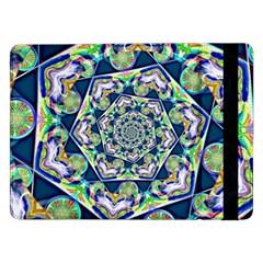 Power Spiral Polygon Blue Green White Samsung Galaxy Tab Pro 12 2  Flip Case by EDDArt