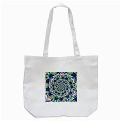 Power Spiral Polygon Blue Green White Tote Bag (white) by EDDArt