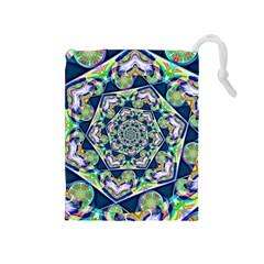 Power Spiral Polygon Blue Green White Drawstring Pouches (medium)  by EDDArt