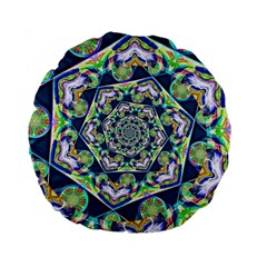 Power Spiral Polygon Blue Green White Standard 15  Premium Flano Round Cushions by EDDArt