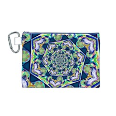 Power Spiral Polygon Blue Green White Canvas Cosmetic Bag (m) by EDDArt