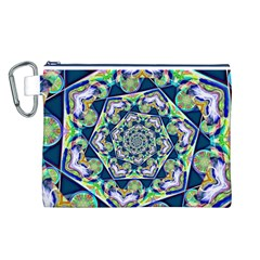 Power Spiral Polygon Blue Green White Canvas Cosmetic Bag (l) by EDDArt