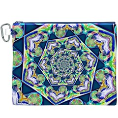 Power Spiral Polygon Blue Green White Canvas Cosmetic Bag (xxxl) by EDDArt