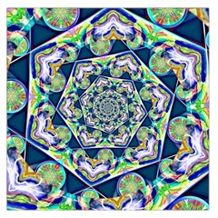 Power Spiral Polygon Blue Green White Large Satin Scarf (square) by EDDArt