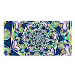 Power Spiral Polygon Blue Green White Satin Shawl by EDDArt
