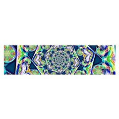 Power Spiral Polygon Blue Green White Satin Scarf (oblong) by EDDArt