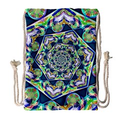 Power Spiral Polygon Blue Green White Drawstring Bag (large) by EDDArt