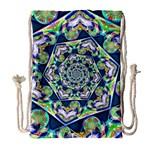Power Spiral Polygon Blue Green White Drawstring Bag (Large)