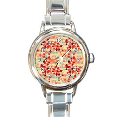 Modern Hipster Triangle Pattern Red Blue Beige Round Italian Charm Watch by EDDArt