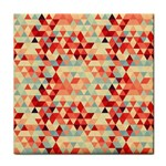 Modern Hipster Triangle Pattern Red Blue Beige Tile Coasters