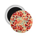 Modern Hipster Triangle Pattern Red Blue Beige 2.25  Magnets