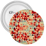 Modern Hipster Triangle Pattern Red Blue Beige 3  Buttons