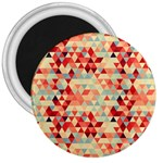 Modern Hipster Triangle Pattern Red Blue Beige 3  Magnets