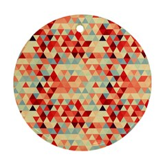 Modern Hipster Triangle Pattern Red Blue Beige Ornament (round)  by EDDArt