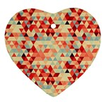 Modern Hipster Triangle Pattern Red Blue Beige Ornament (Heart)