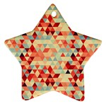 Modern Hipster Triangle Pattern Red Blue Beige Ornament (Star)
