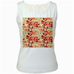 Modern Hipster Triangle Pattern Red Blue Beige Women s White Tank Top